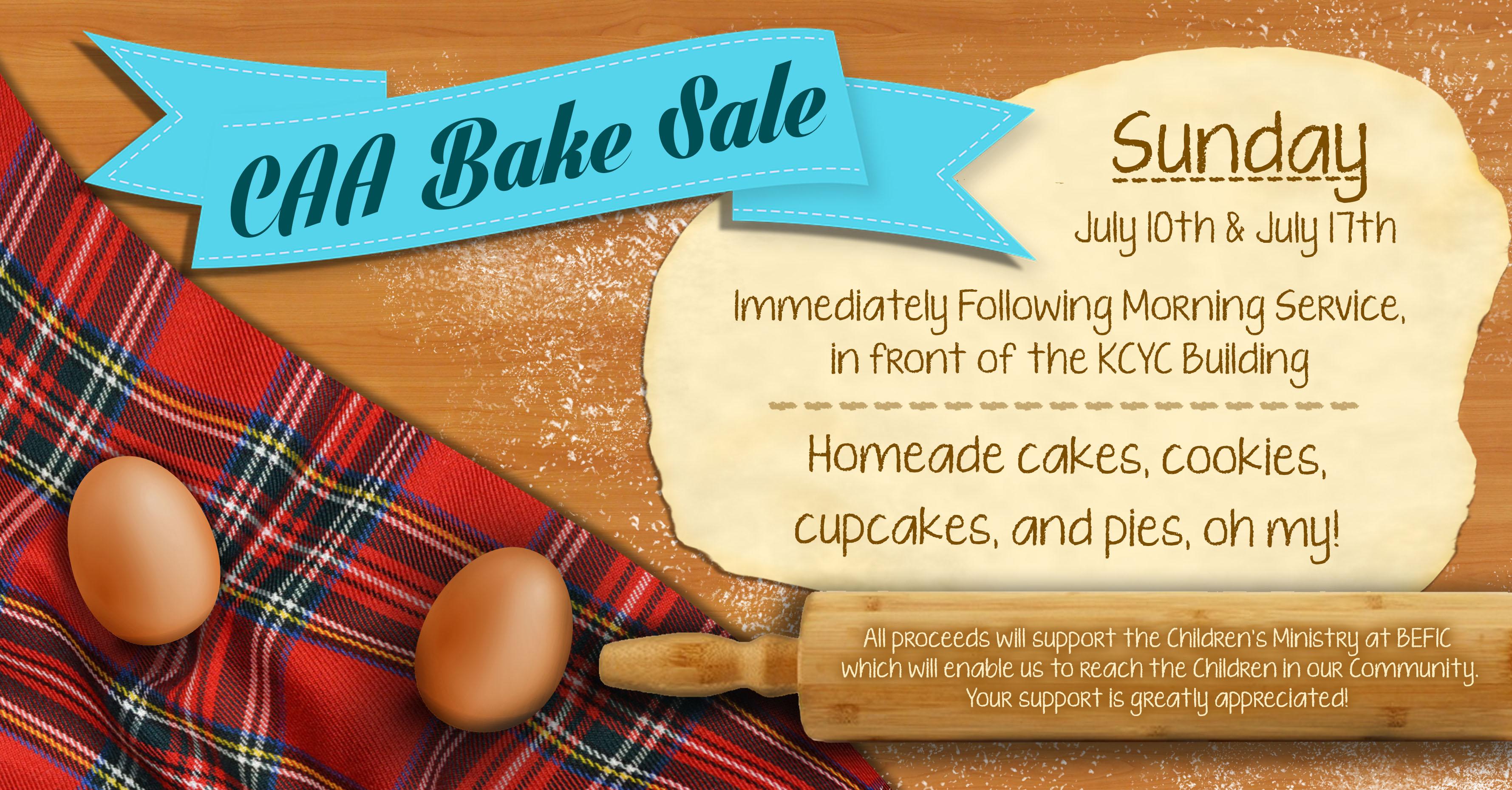 Bake Sale July 10 & 17